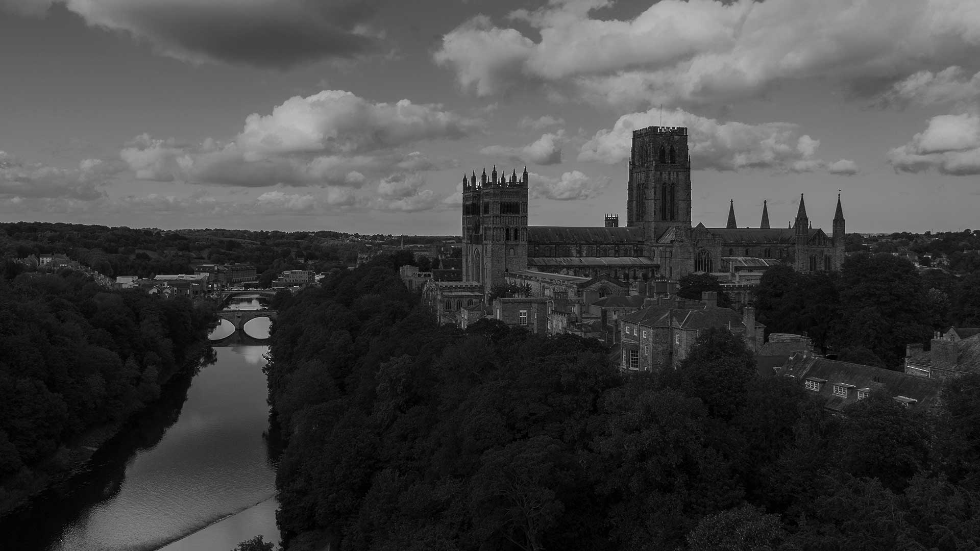 Durham Cathedral in black and white